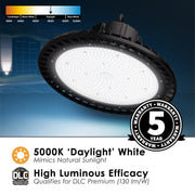 LED Round UFO High Bay, 150W, 120-277V, 19500 Lumens, Black Finish