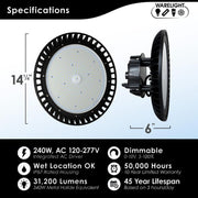 LED Round UFO High Bay, 240W, 120-277V, 31200 Lumens, Black Finish