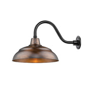"Millennium Lighting 17"" Warehouse Shade Goose Neck Mount, Natural Copper Finish Shade, Satin Black Finish 14.5"" Arm"