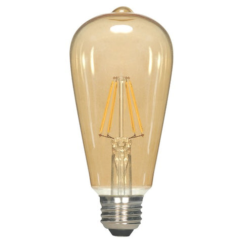 SATCO 2.5W ST19 LED; Transparent Amber; Medium base; 2000K; 220 Lumens; 120V