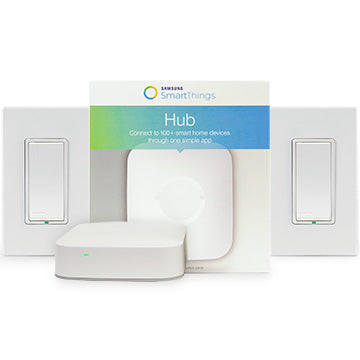 STKIT-2DS bundle includes the Samsung SmartThings Hub, Leviton DZ6HD Z-Wave Universal Dimmer, and Leviton DZ15S Z-Wave Switch