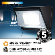 LED Wall Pack, 80W, 9600 Lumens, 120-277V,  Bronze Finish  - Image #4