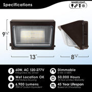 LED Wall Pack, 80W, 9600 Lumens, 120-277V,  Bronze Finish  - Image #2
