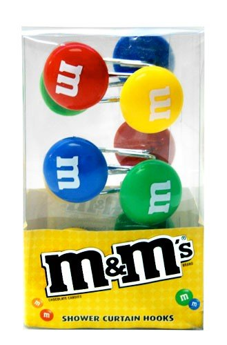 M&MS Candy Colored Bath Shower Curtain Hooks Set/12