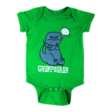 Load image into Gallery viewer, David & Goliath Grumposaur Infant Bodysuit Onesie in Kelly Green