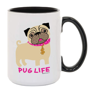 "David & Goliath""Pug Life"" 15 Ounce (OZ) White and Black Ceramic Coffee Mug"