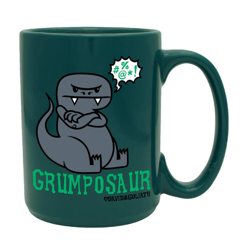David & Goliath Grumposaur 15 Ounce (OZ) Forest Green Ceramic Ceramic Coffee Mug