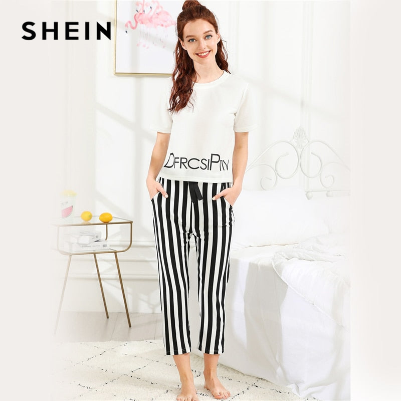 214ce4c2c5 ... Load image into Gallery viewer, SHEIN Black And White Preppy Elegant  Letter Print Top And