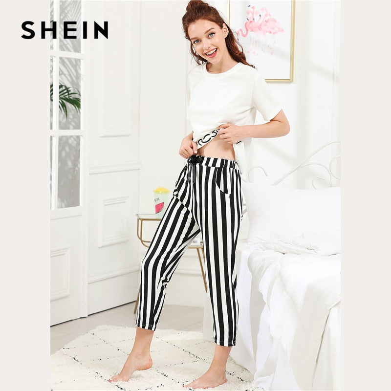 f8317213a3 ... Load image into Gallery viewer, SHEIN Black And White Preppy Elegant  Letter Print Top And ...