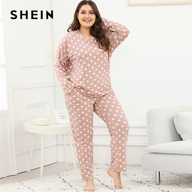 049f3a9d36d SHEIN Plus Size Polka Dot Women Pink Pajama Set Nightwear Suits Long Sleeve  Tops With Long