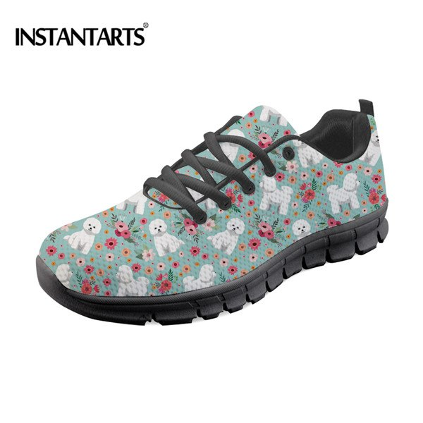af96c33815a INSTANTARTS Women's Running Shoes Breathable Cute Boxer Flower Printed