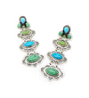GREEN AND BLUE 3-STONE DROP EARRINGS