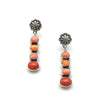 CORAL AND ORANGE SPINY FOUR STONE DROP EARRINGS