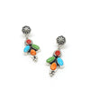 4 STONE EARRINGS WITH CONCHA TOPS