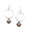 Orange Spiny Charm Hoops