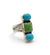 Turquoise and Gaspeite 3 Stone Ring
