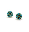 Small Blue and Green Flower Earrings