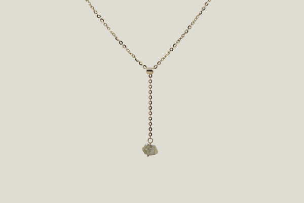 RAW DIAMOND DROP PENDANT NECKLACE, 14K GOLD - Aleishla