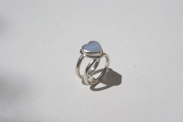 Blue Lace Agate Double Band Silver Ring, 6.75