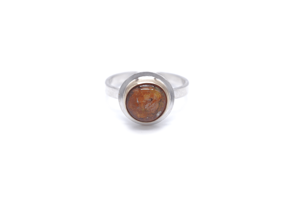 Mexican Opal 14k Gold / Silver Ring, 8.5
