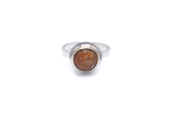 Mexican Opal 14k Gold / Silver Ring, 8.5 - Aleishla