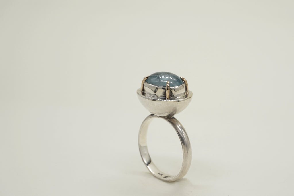 AQUAMARINE ELLIPSE RING, 8.5 - Aleishla