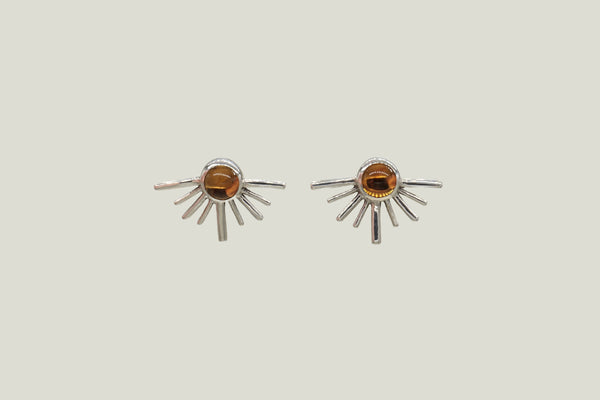 CITRINE SOLECITOS STUD EARRINGS, SILVER - Aleishla