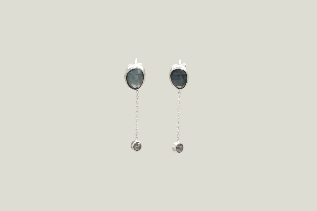 SILVER TOPAZ / DIAMOND DROP EARRINGS - Aleishla