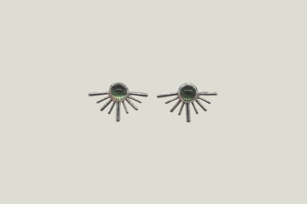GREEN TOURMALINE SOLECITOS STUD EARRINGS, SILVER - Aleishla