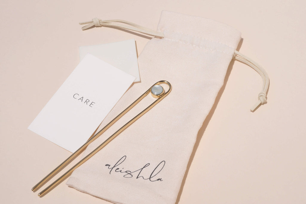 MOTHER OF PEARL BRASS HAIR PIN - Aleishla