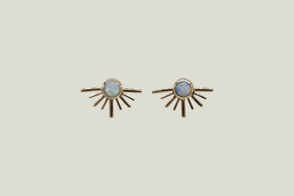 OPAL SOLECITOS STUD EARRINGS, 14K GOLD - Aleishla