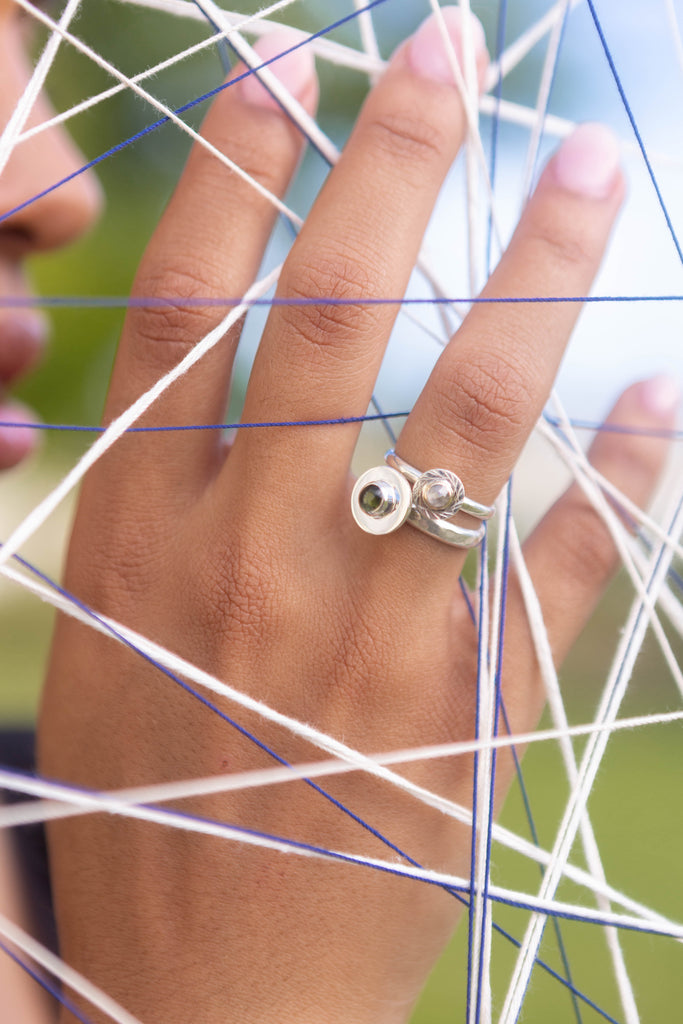SALT AND PEPPER DIAMOND SPHERE RING, 7.25 - Aleishla