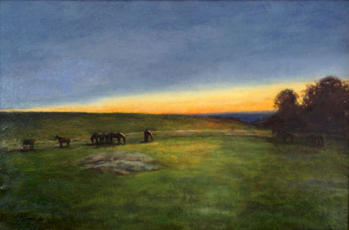 oil painting of a group of horses grazing at sunset