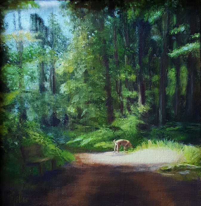 Oil painting of a dog (boxer) on a walk in a forest in Switzerland