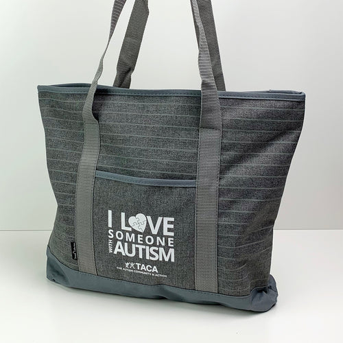 Gray I Love Someone with Autism Tote Bag