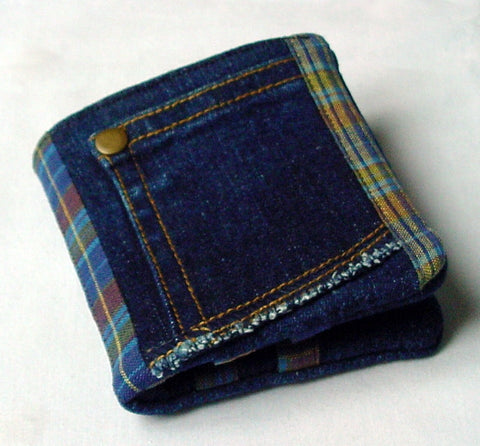 Indigo denim wallet handmade from repurposed jeans and cotton check fabric