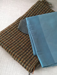 Blue wool silk and denim fabric intended for a handmade bow tie
