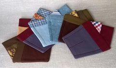 A collection of handmade pre folded pocket squares available at TwiLd Capit Hog