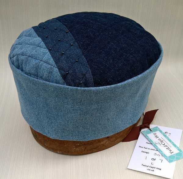 Patchwork pillbox hat handmade in shade of blue denim from limited collection by TwiLd Capit Hog