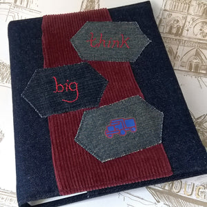 Denim patchwork A5 ring binder by FabNotes