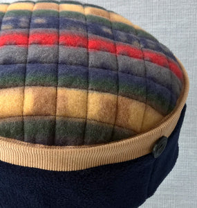 Ethnic fleece Fez Hat, Mens Hippie Style Boho Cap