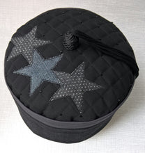 Load image into Gallery viewer, The uniquely quilted and beaded tip of the smoking cap with applique stars