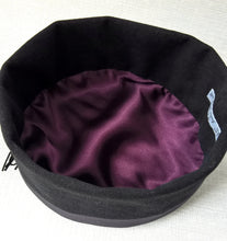 Load image into Gallery viewer, The interior of the smoking cap is hand-finished with an aubergine satin lining
