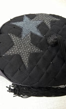 Load image into Gallery viewer, The tip of the smoking cap has three applique stars in two different denims