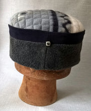 Load image into Gallery viewer, Grey Ethnic Pillbox Hat, Fleece Tribal Winter Cap