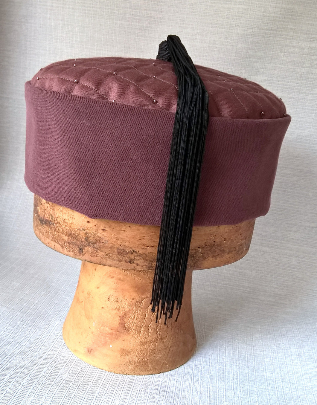 Maroon smoking cap handmade with black tassel from vintage fringing