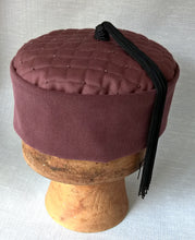 Load image into Gallery viewer, Quilted Pillbox Smoking Cap in Maroon with Black Tassel