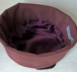 Quilted Pillbox Smoking Cap in Maroon with Black Tassel