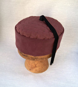 Handmade smoking cap with quilted tip and black tassel