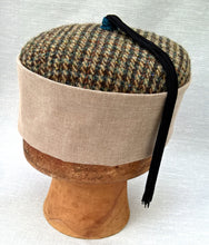 Load image into Gallery viewer, Tweed Tassel Smoking Cap, Pillbox Hat for the Modern Wizard
